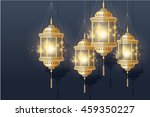 golden lantern vector... | Shutterstock .eps vector #459350227