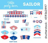 sailor party decorations set... | Shutterstock .eps vector #459363997