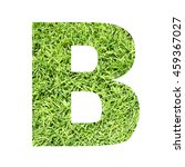 Small photo of The outline of English capital letter 'B' isolated on white background and filled in with actual photo of green grass lawn with applicable clipping or working path for design project