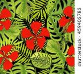 tropical flowers vector... | Shutterstock .eps vector #459403783