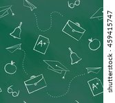 seamless pattern back to school.... | Shutterstock . vector #459415747