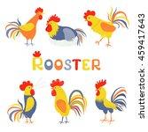 six lovely cockerels on a white ... | Shutterstock .eps vector #459417643