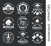 caribbean pirates monochrome... | Shutterstock .eps vector #459447283