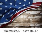 closeup of american flag on wood | Shutterstock . vector #459448057