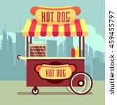 street food vending cart with... | Shutterstock .eps vector #459455797