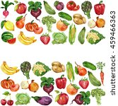 watercolor set with fruits and... | Shutterstock . vector #459466363