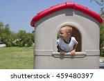 little boy in toy house  ...   Shutterstock . vector #459480397