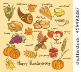 thanksgiving icons hand drawn... | Shutterstock .eps vector #459493387