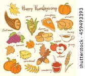 thanksgiving icons hand drawn... | Shutterstock .eps vector #459493393