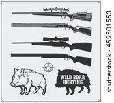 hunting set. vector monochrome... | Shutterstock .eps vector #459501553