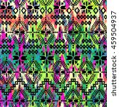 aztec print over painted ikat... | Shutterstock . vector #459504937
