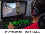 back view of young gamer in... | Shutterstock . vector #459543337