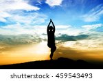blurred silhouette woman on top ... | Shutterstock . vector #459543493