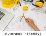 hand over construction plans... | Shutterstock . vector #459555913