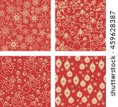set of 4 christmas seamless...   Shutterstock .eps vector #459628387