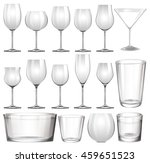 set of wine glasses and cups... | Shutterstock .eps vector #459651523
