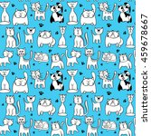 seamless pattern with cute cats | Shutterstock . vector #459678667
