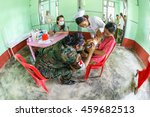 Small photo of HINTHADA, MYANMAR - SEP 1: Thai Military Medical Team treat affected people from flood during Humanitarian assistance at Myanaung Hospital on Sep 1, 2015 in Hinthada, Myanmar.