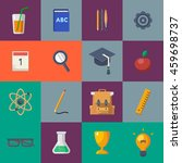 back to school flat icon set.... | Shutterstock .eps vector #459698737