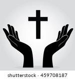 hands holding the cross | Shutterstock .eps vector #459708187