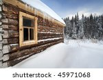 Russia Log House In Winter ...