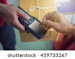 human signing on device to... | Shutterstock . vector #459733267