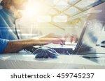 double exposure. businessman...   Shutterstock . vector #459745237