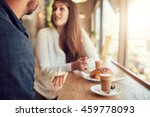 cup of coffee and food on table ... | Shutterstock . vector #459778093
