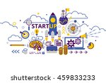 vector illustration flat line... | Shutterstock .eps vector #459833233