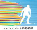 Man Skiing Abstract Vector...