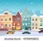 sunny city street at winter.... | Shutterstock .eps vector #459890803