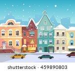 sunny city street at winter.... | Shutterstock .eps vector #459890803