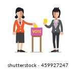 women putting voting papers in... | Shutterstock .eps vector #459927247