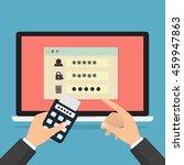 human hand hold token generator ...   Shutterstock .eps vector #459947863