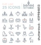set vector line icons in flat... | Shutterstock .eps vector #459984853