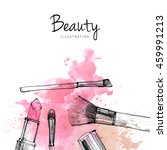 makeup brush with smear ... | Shutterstock . vector #459991213