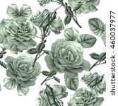 seamless pattern with roses.... | Shutterstock . vector #460037977