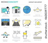flat icons set of aircraft and...