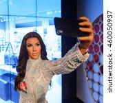 Small photo of LONDON, ENGLAND - JULY 22, 2016: Kimberly Kim Kardashian West, American television personality, Madame Tussauds wax museum.