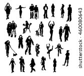set of people silhouettes. hand ... | Shutterstock . vector #460080643
