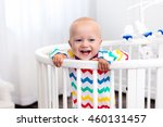 cute laughing baby standing in... | Shutterstock . vector #460131457