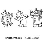 vector cartoon robots dancing... | Shutterstock .eps vector #46013350