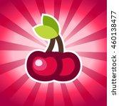 cherry icon on pink bursting... | Shutterstock .eps vector #460138477