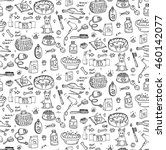 Stock vector seamless pattern hand drawn doodle pets stuff and supply icon set vector illustration symbol 460142077