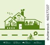 green house ecology vector... | Shutterstock .eps vector #460177237