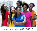 group of six laughing african... | Shutterstock . vector #460188013
