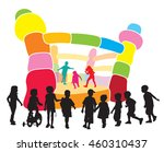 a group of children playing in... | Shutterstock .eps vector #460310437