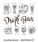 vector set of beer glasses and... | Shutterstock .eps vector #460346137