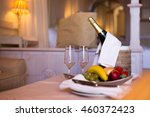 champagne in a hotel room  ice... | Shutterstock . vector #460372423