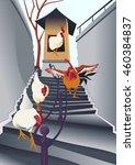 hen in stairs | Shutterstock .eps vector #460384837